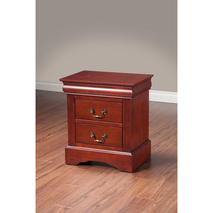 HomeRoots Office Rubberwood Nightstand With 2 Drawers Brown