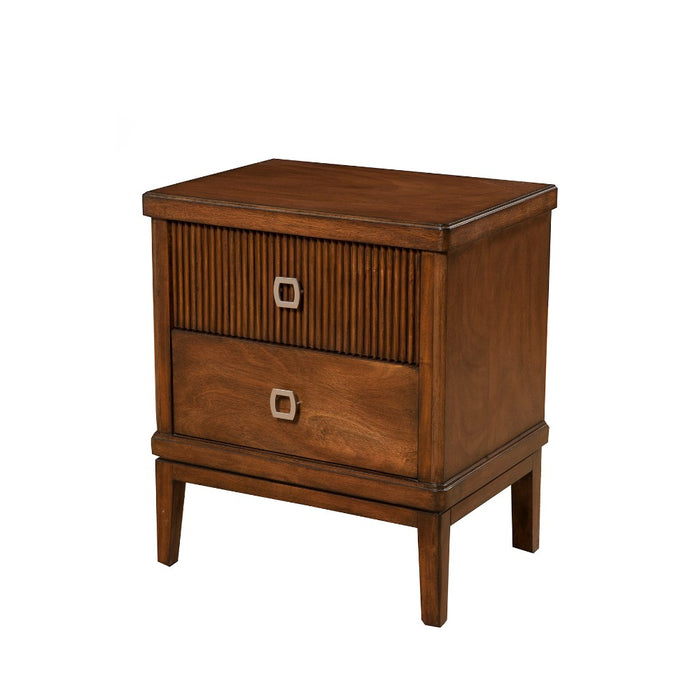 HomeRoots Office 2 Drawer Mahogany Wood Nightstand In Brown