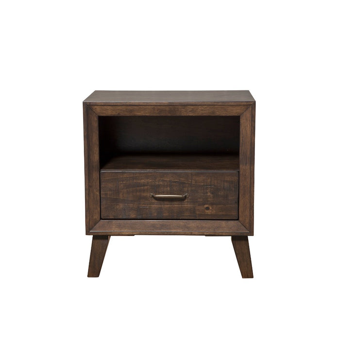 HomeRoots Office Rubberwood Nightstand With Drawer & Shelf Rustic Brown