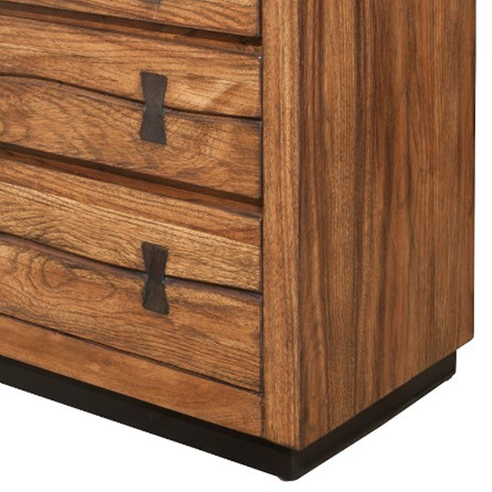 HomeRoots Office 3 Drawer Nightstand In Mahogany Wood Brown