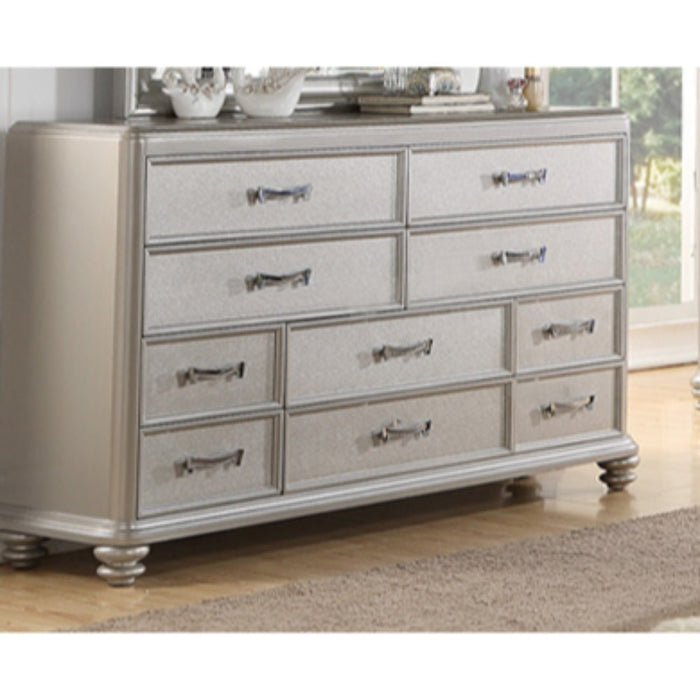 HomeRoots Office 10 drawers Wooden Dresser In Silver