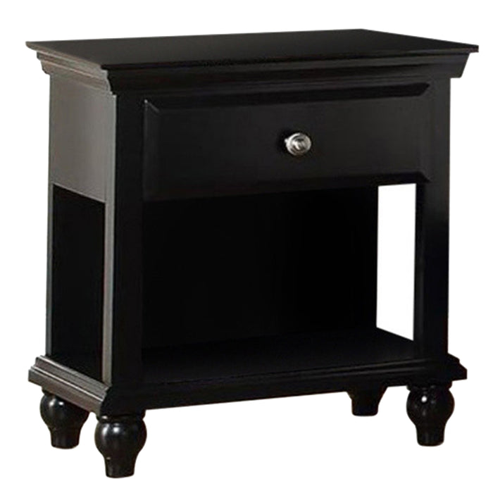 HomeRoots Office Wood Night Stand With Drawer, Black