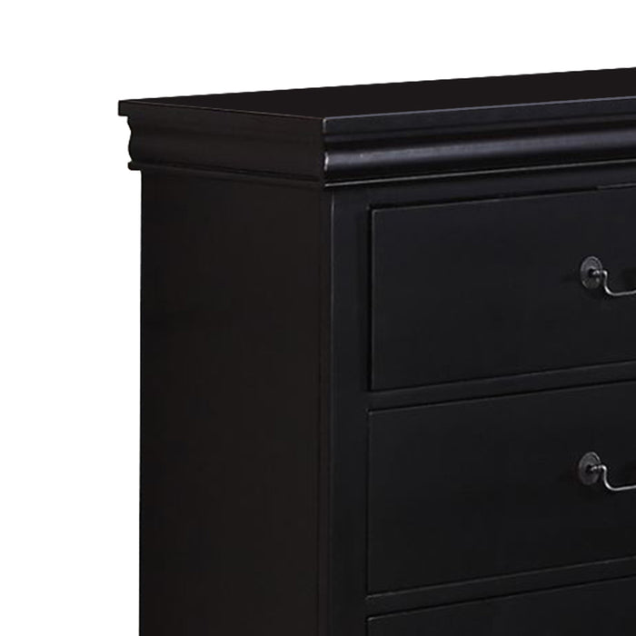 HomeRoots Office Pine Wood 6 Drawer Dresser, Black