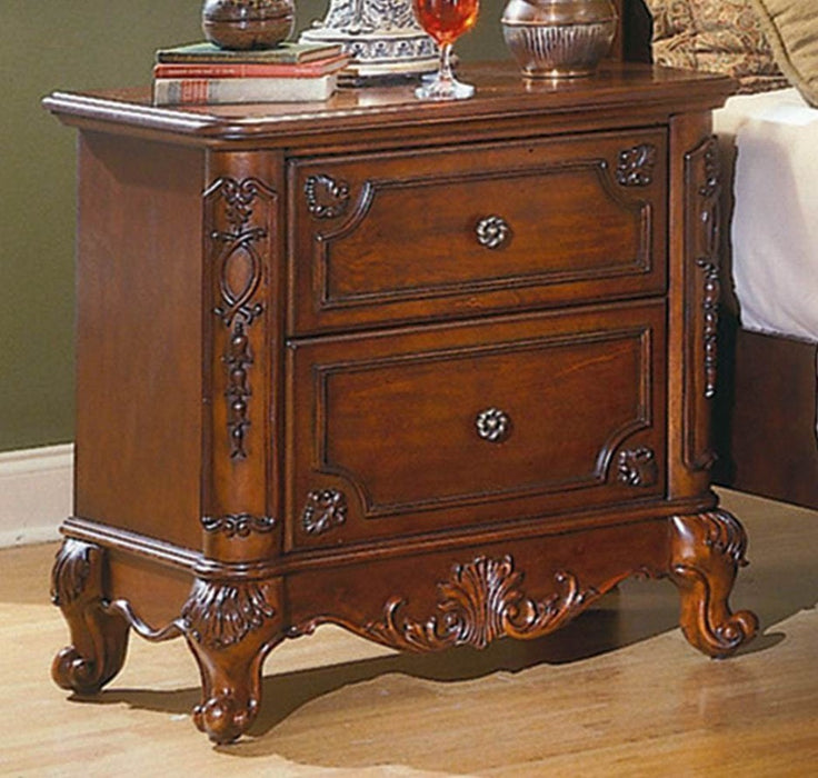 HomeRoots Office Wooden Night Stand With 2 Drawers In Cherry Brown