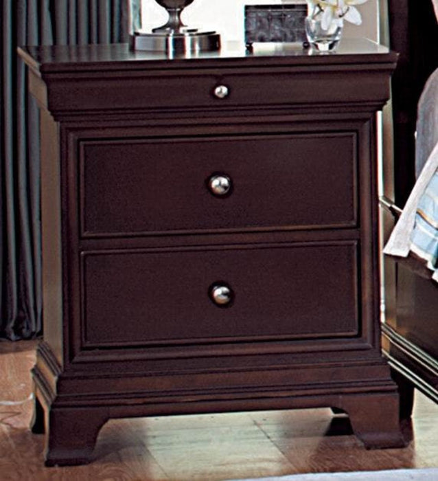 HomeRoots Office Wooden Night Stand With 2 Drawers And 1 Tray In Dark Brown