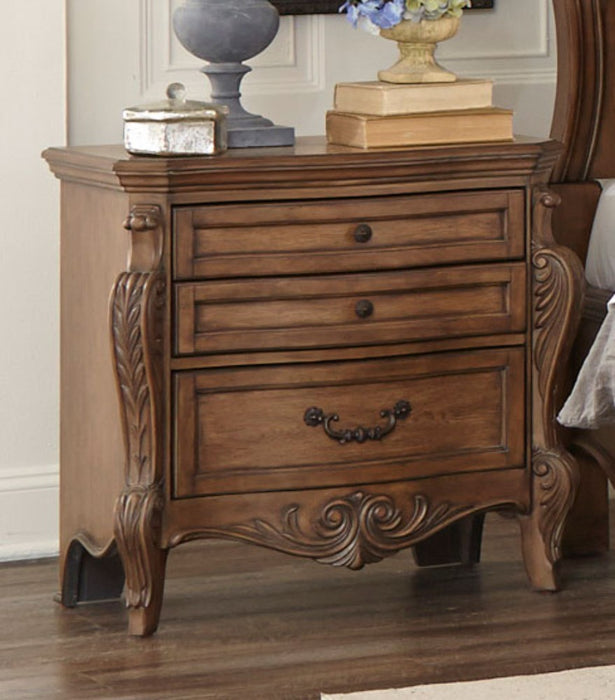 HomeRoots Office Wooden Night Stand With Drawers In Pecan Brown