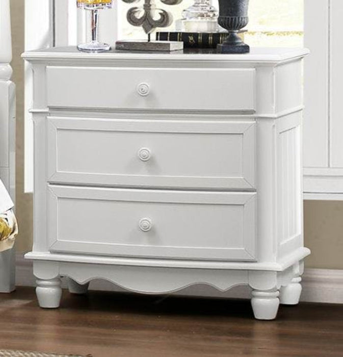 HomeRoots Office Night Stand With 3 Drawers In White