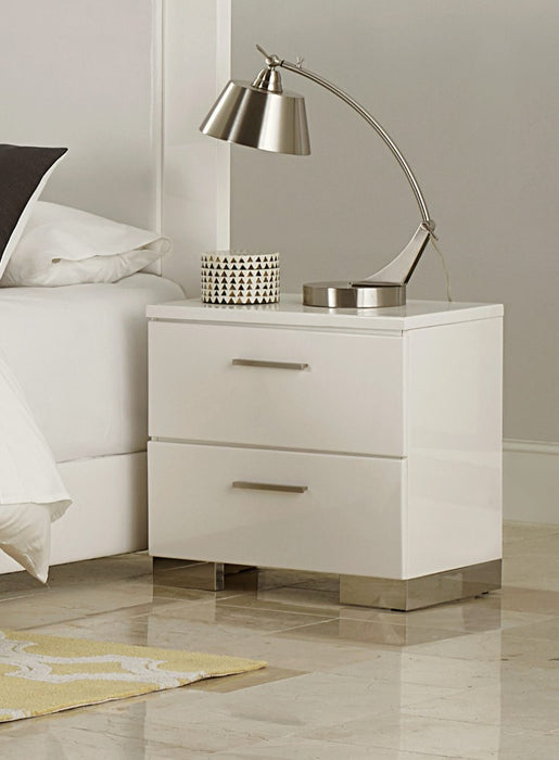 HomeRoots Office Wooden Nightstand With 2 Drawers In White