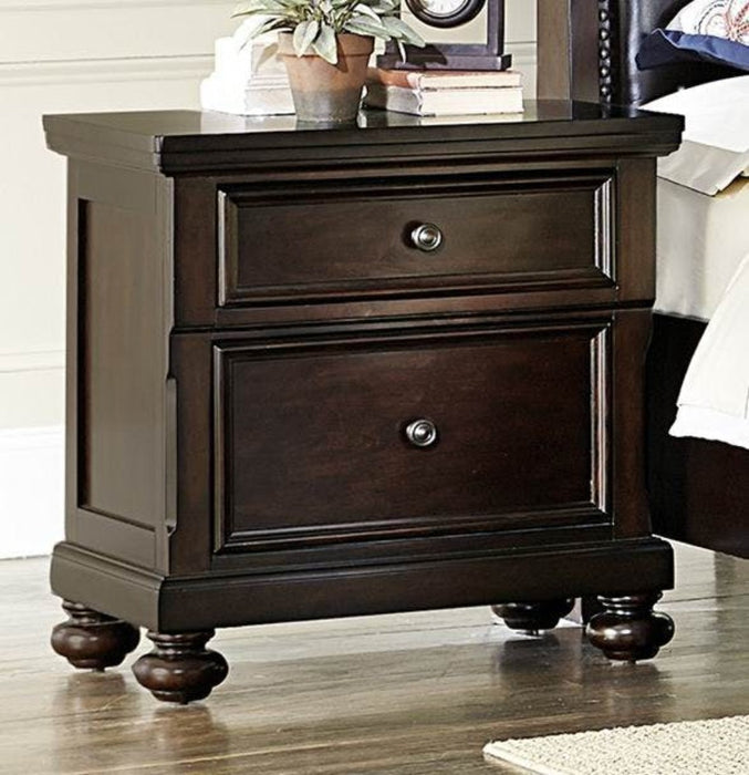 HomeRoots Office 2 Drawers Wooden Night Stand With Bun Feet In Dark Brown