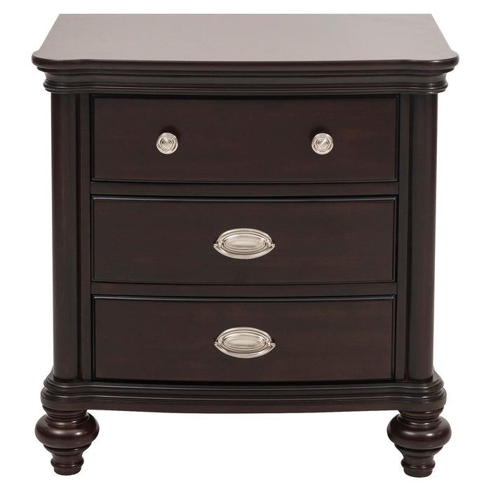 HomeRoots Office Wooden Nightstand With Three Drawers in Dark Cherry