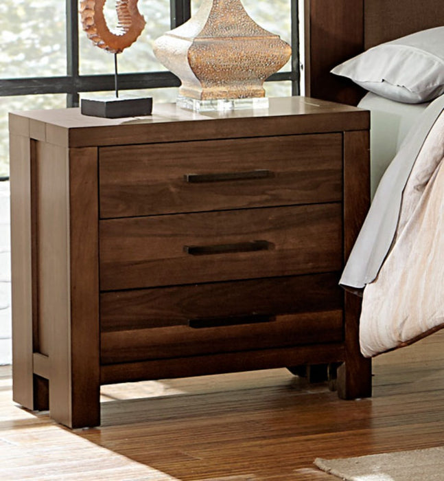 HomeRoots Office 3 Drawers Nightstand In Wood Walnut Brown