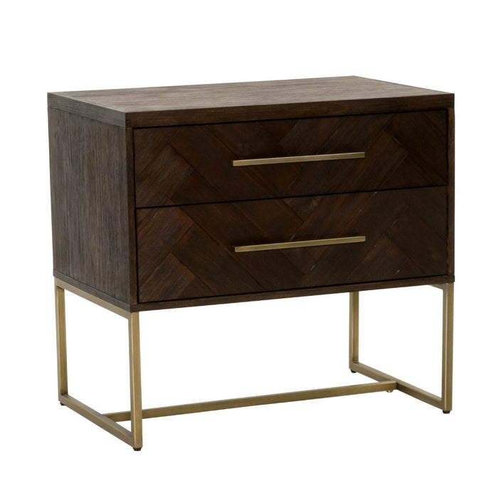 HomeRoots Office Two Drawers Nightstand, Rustic Java Brown