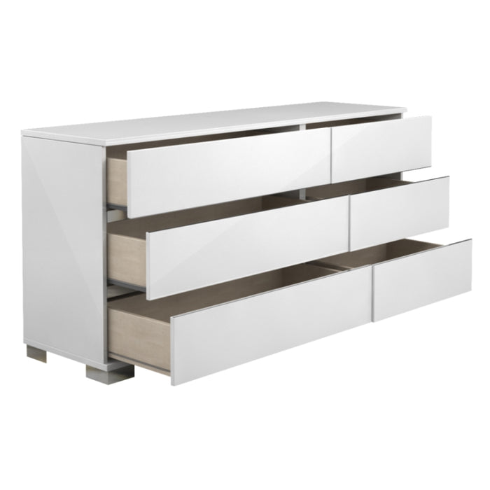 HomeRoots Office Spacious Double Dresser With 6 Drawers White