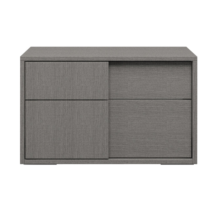 HomeRoots Office Oak Wood Nightstand With Soft Closing Drawers Matte Gray