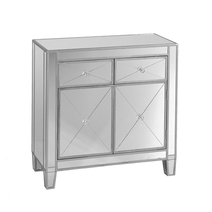 HomeRoots Office Mirrored Storage Cabinet With 2 Drawers and 2 Doors, Silver