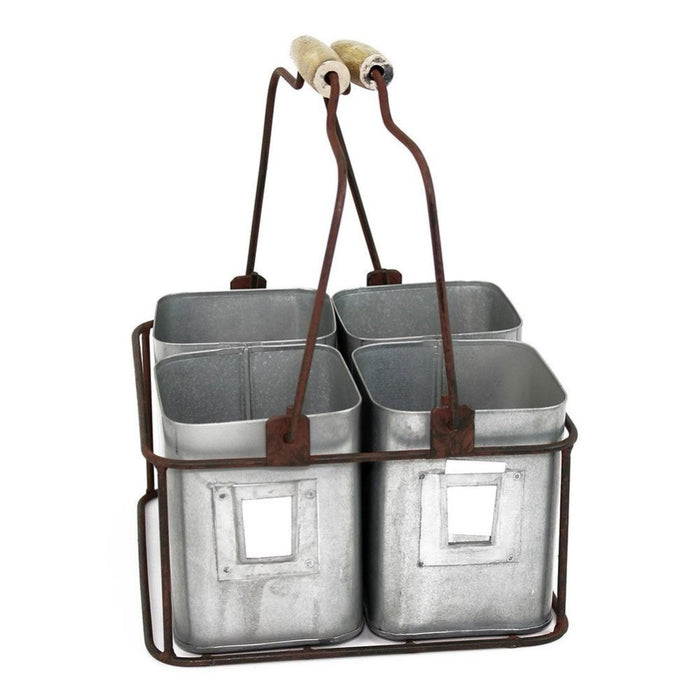 HomeRoots Office Galvanized Metal Four Tin Organizer With Handles, Gray