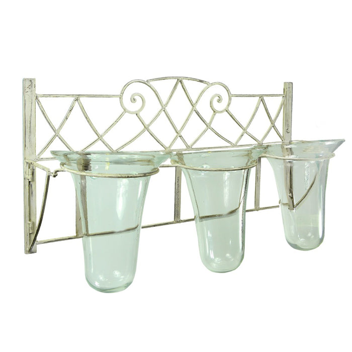 HomeRoots Metal Candleholder,White & Clear