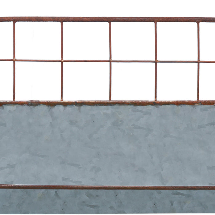 HomeRoots Office Galvanized Metal Wall Iron Shelves With Wired Back, Set Of 2, Gray