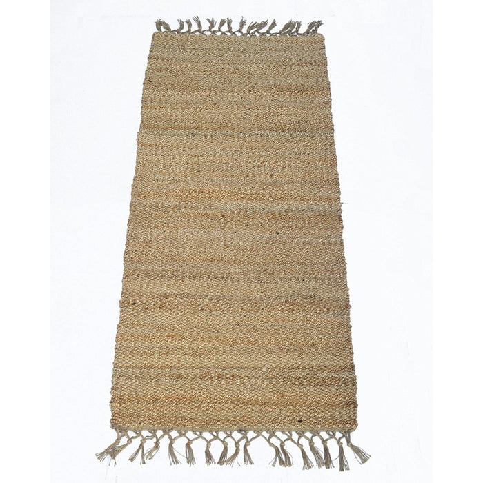 HomeRoots Knotted Fringed Ends Jute Providence Rug, Natural