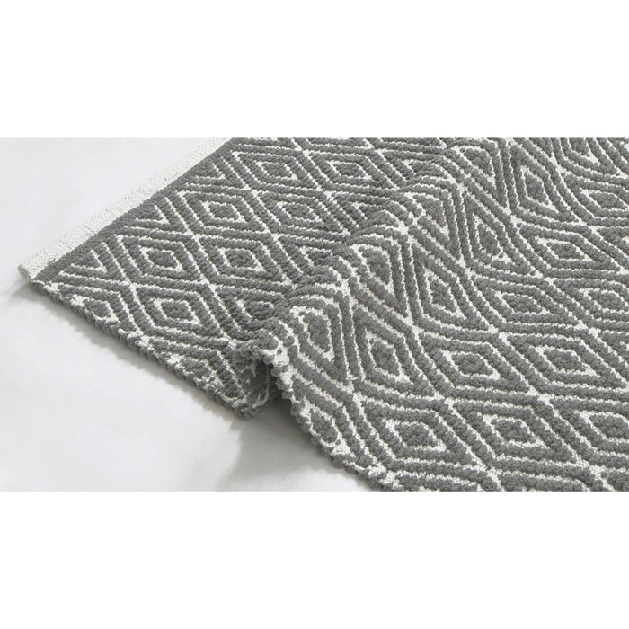 HomeRoots Diamond Designed Cotton Chenille Rug Runner, Gray And White