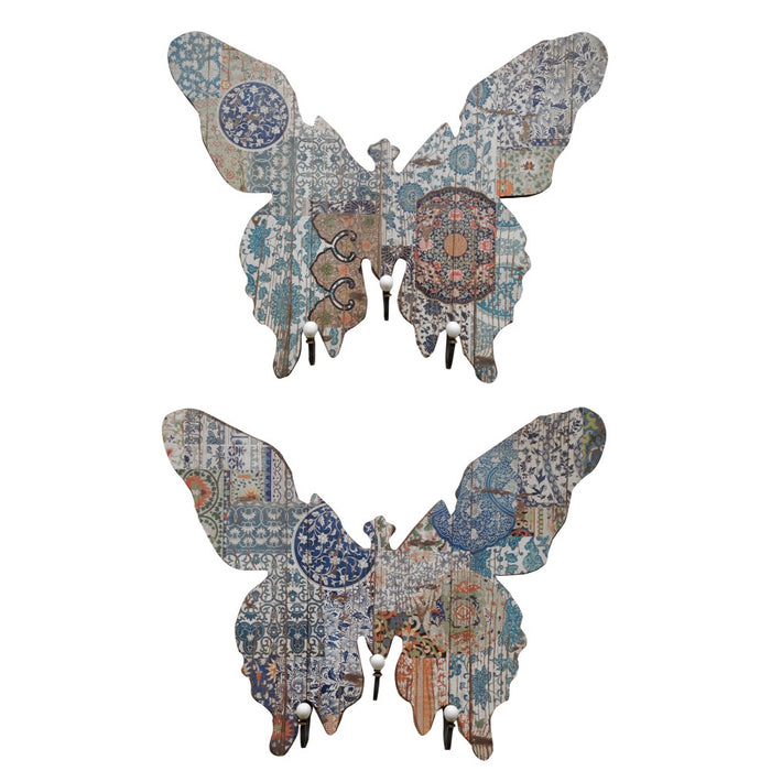 HomeRoots Butterfly Shape MDF and Metal Wall Decor With 3 Hooks, Multicolor, Set of 2