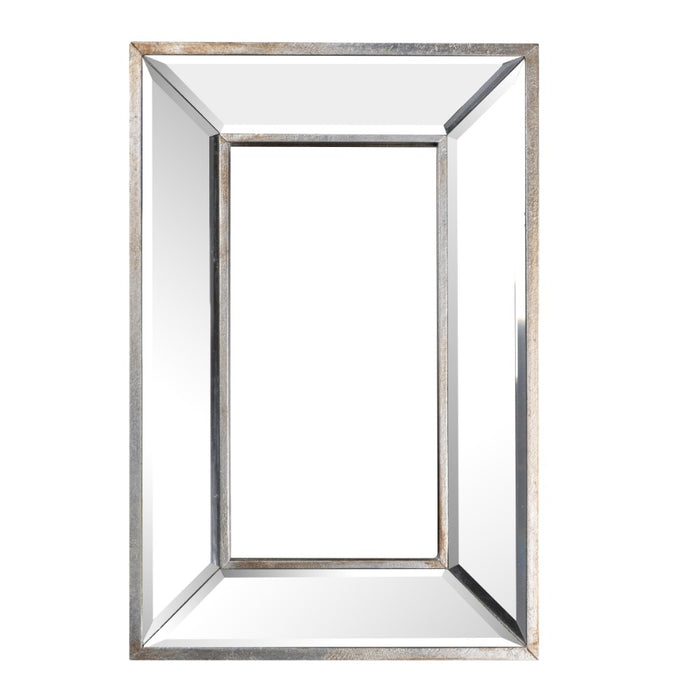 HomeRoots Wood and Glass Wall Art With Beveled Edges, Silver