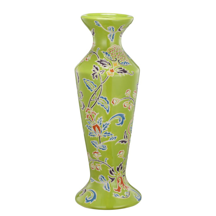 HomeRoots Floral Patterned Ceramic Candle Holder With Flared Bottom, Multicolor