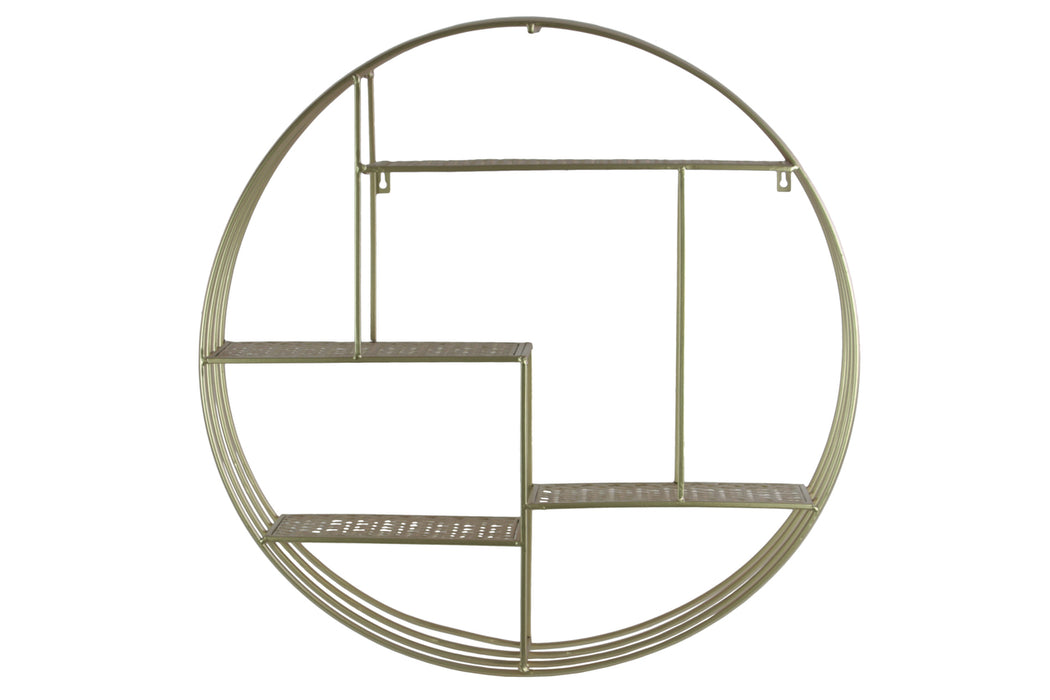 HomeRoots Office Round Metal Wall Organizer With Four Shelves, Champagne Silver