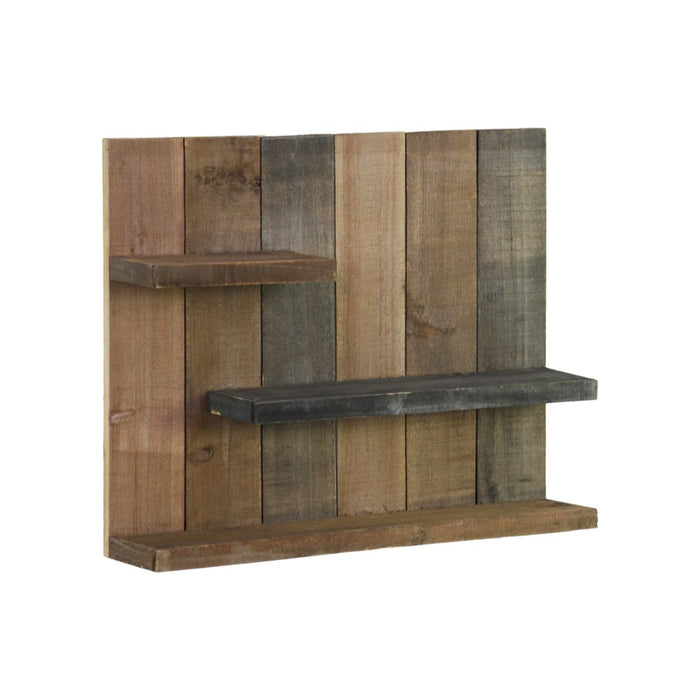 HomeRoots Office Wooden Wall Shelf With 3 Tier Shelves, Brown