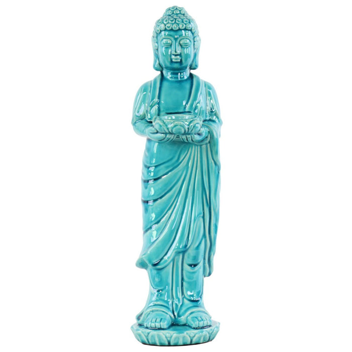 HomeRoots Ceramic Standing Buddha Figurine Holding Tea light Candle Holder, Blue