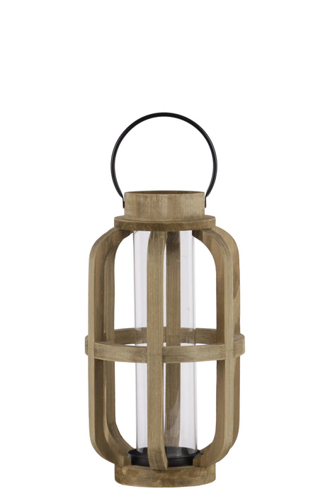 HomeRoots Wood Cylinder Metal Handle Lantern With Hurricane Candle Holder, Small, Brown