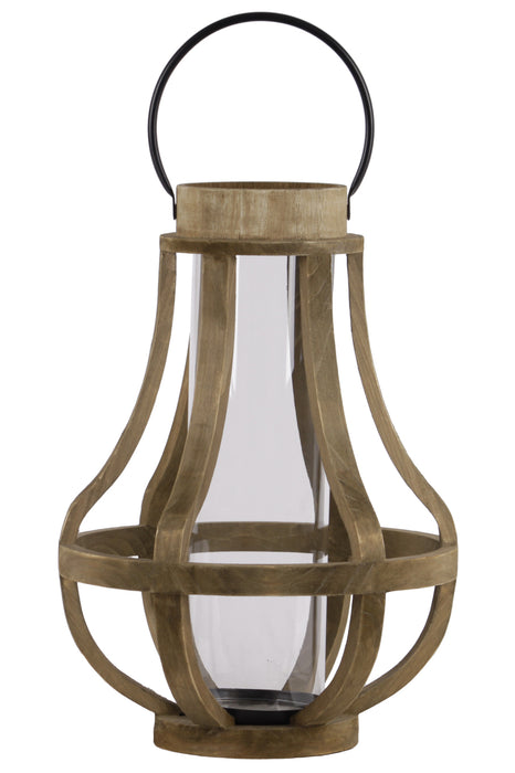 HomeRoots Wood Bellied Metal Handle Lantern With Hurricane Candle Holder, Large, Brown