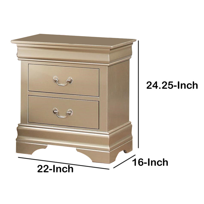 HomeRoots Office Wooden 2 Drawer Nightstand with Bail Handles, Champagne Gold