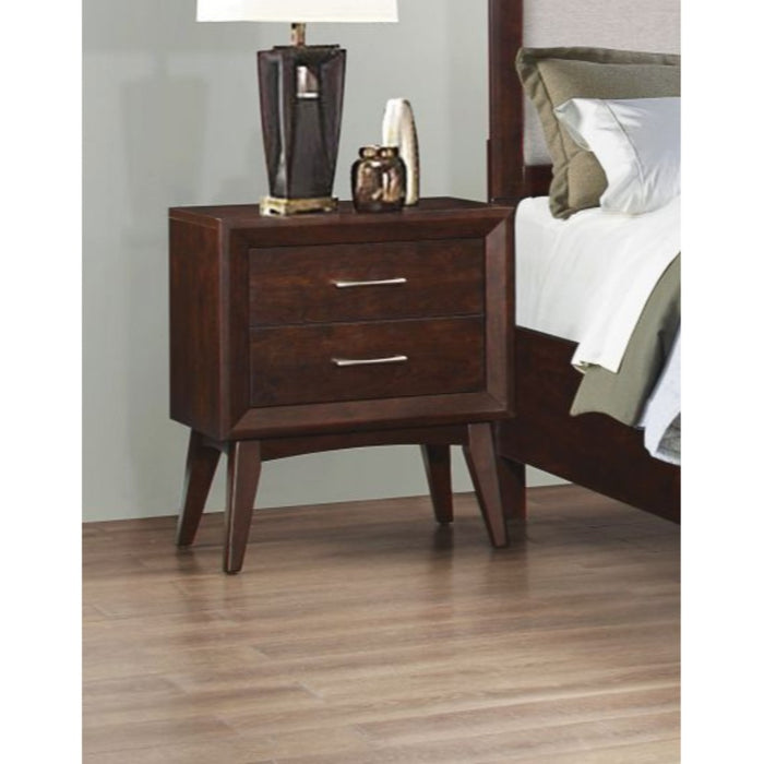 HomeRoots Office Wooden Nightstand with 2 Drawers, Coffee Brown