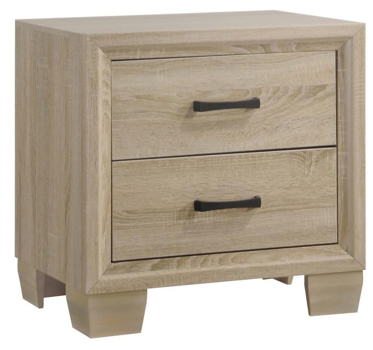 HomeRoots Office Wooden Nightstand with 2 Drawers, White Washed Oak Brown
