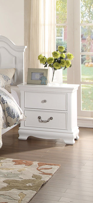 HomeRoots Office Wooden Night stand With 2 Drawers, White