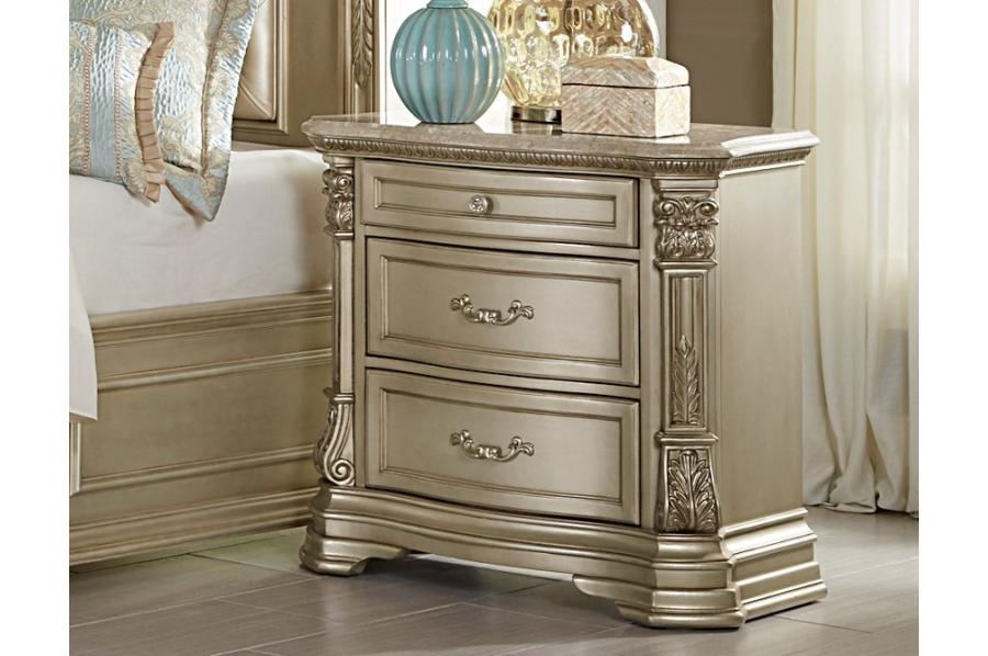 HomeRoots Office 3 Drawer Wooden Night Stand With Marble Top, Champagne Gold