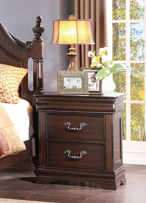 HomeRoots Office 2 Drawers Wooden Night Stand In Traditional Style, Cherry Brown