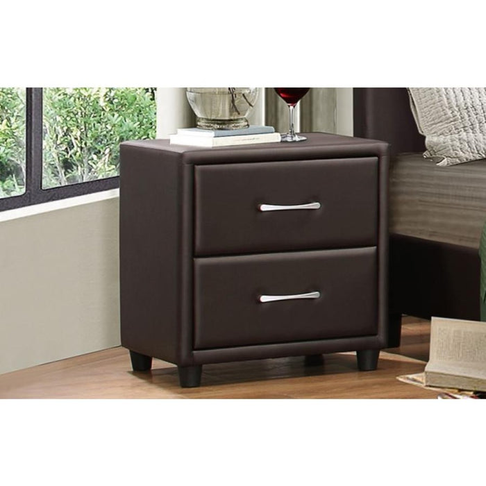 HomeRoots Office 2 Drawer Night Stand In Wood And PVC, Brown