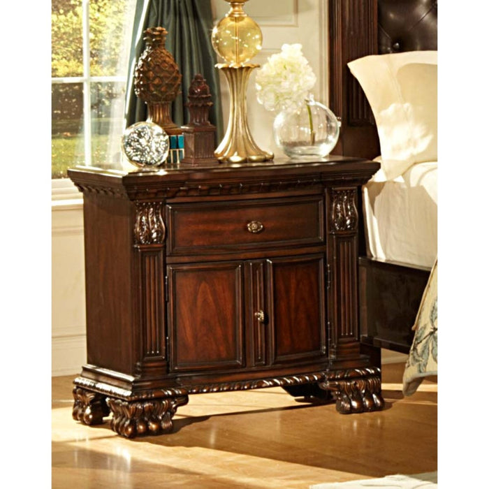 HomeRoots Office Traditional Style Wooden Engraved Night Stand With 1 Drawer And 1 Door, Cherry Brown