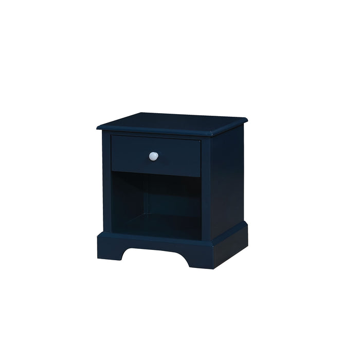 HomeRoots Office Transitional Solid Wood Night Stand With Drawer, Blue