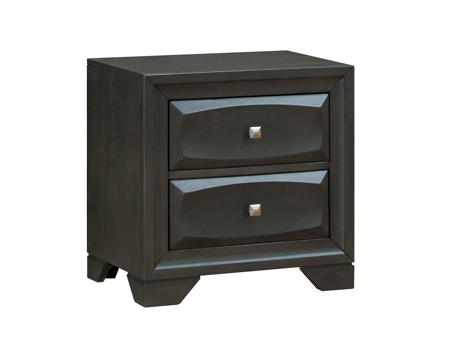HomeRoots Office Transitional Solid Wood Night Stand With SilverTone Knob Drawers, Antique Gray