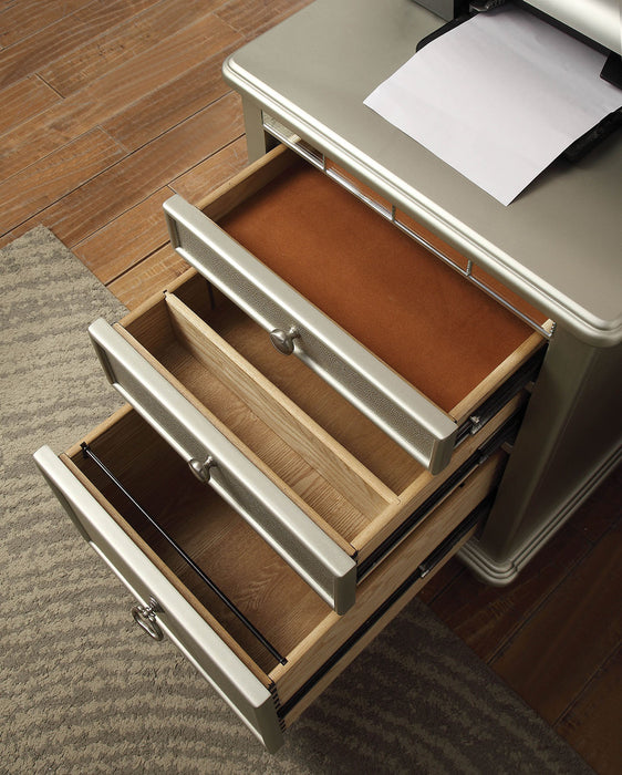 HomeRoots Office 3 Drawers Wooden File Cabinet with Mirrored Trim Accents, Silver