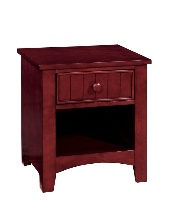 HomeRoots Office Wooden Night Stand With One Drawer And Open Shelf In Cherry Brown