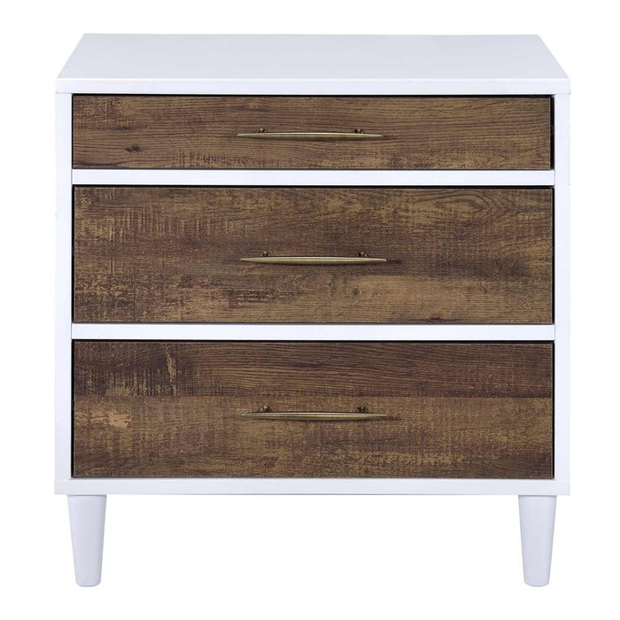 HomeRoots Office Wooden Nightstand with Three Drawers, White & Weathered Oak Brown