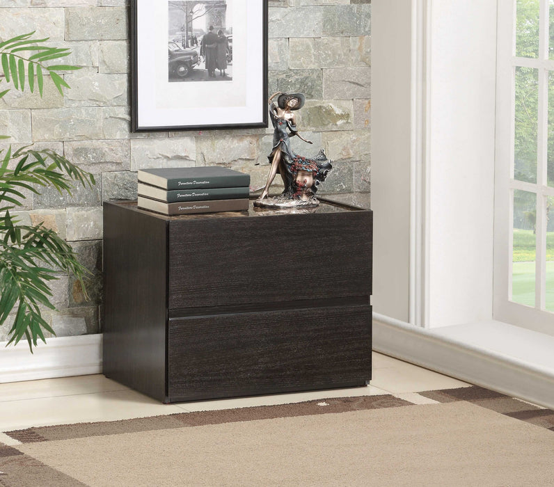HomeRoots Office Two Drawers Wooden Nightstand with Faux Marble Top, Espresso Brown