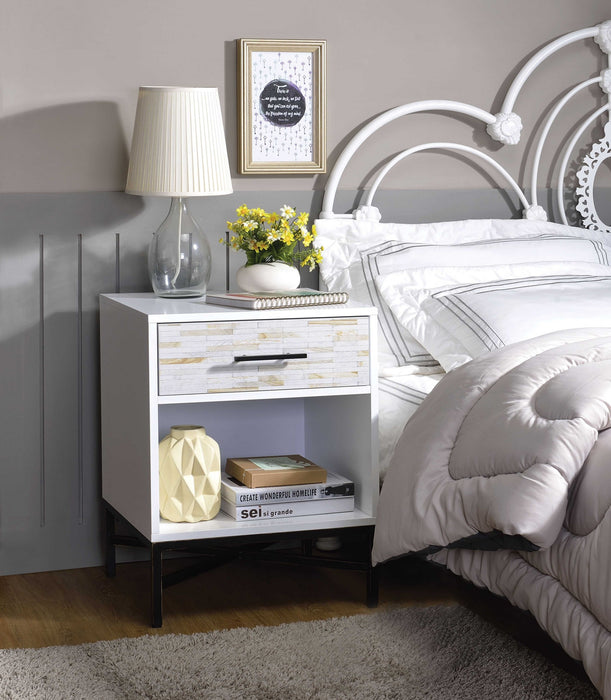 HomeRoots Office Wood & Metal Nightstand with One Drawer And One Open Shelf, White & Black