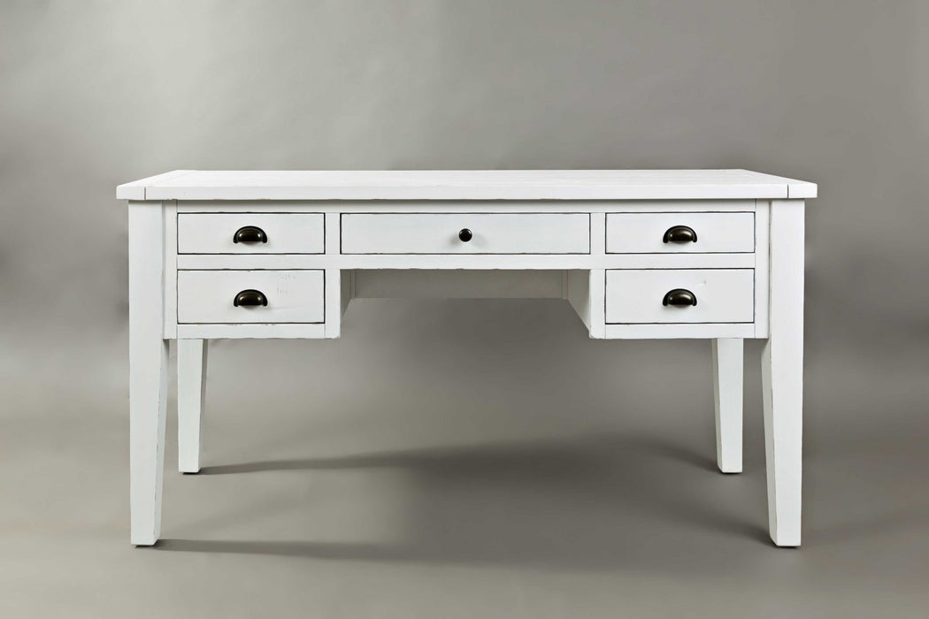 HomeRoots Office 5Drawer Wooden Desk In Weathered White Finish