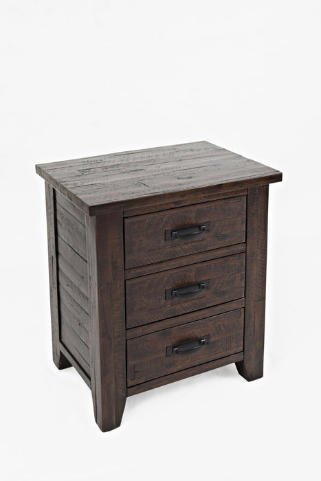 HomeRoots Office 3 Drawer Master Nightstand, Rustic Brown