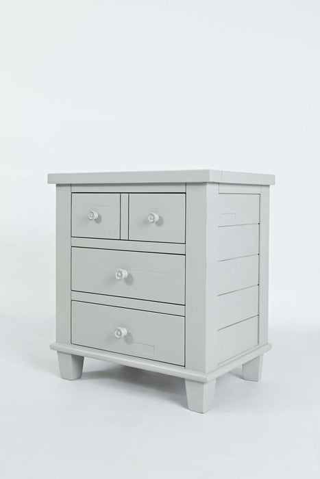 HomeRoots Office 3 Drawer Nightstand With Slatted Top, Dove White